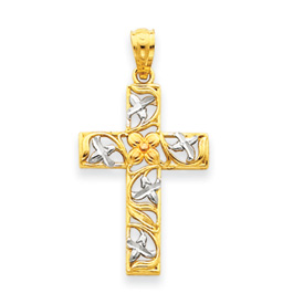 clearance item14k gold Floral Cross