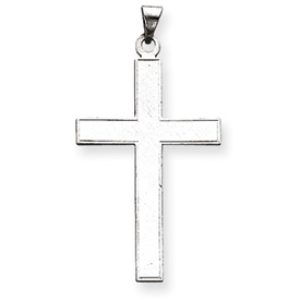 clearance item 14k white gold flat latin cross line edge border beautiful interior etch