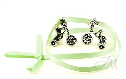 sterling silver tricycle charms wedding cake charms for bridal showers or wedding ceremony. Black Bedroom Furniture Sets. Home Design Ideas